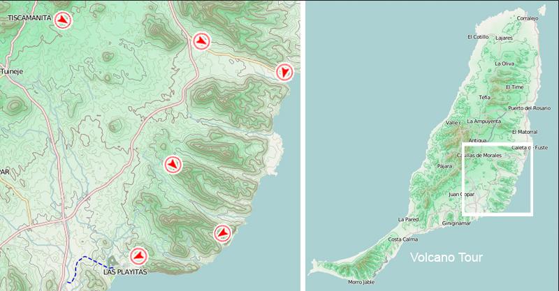 Verlauf der Volcano Tour © Volcano Bike S.L. Fuerteventura