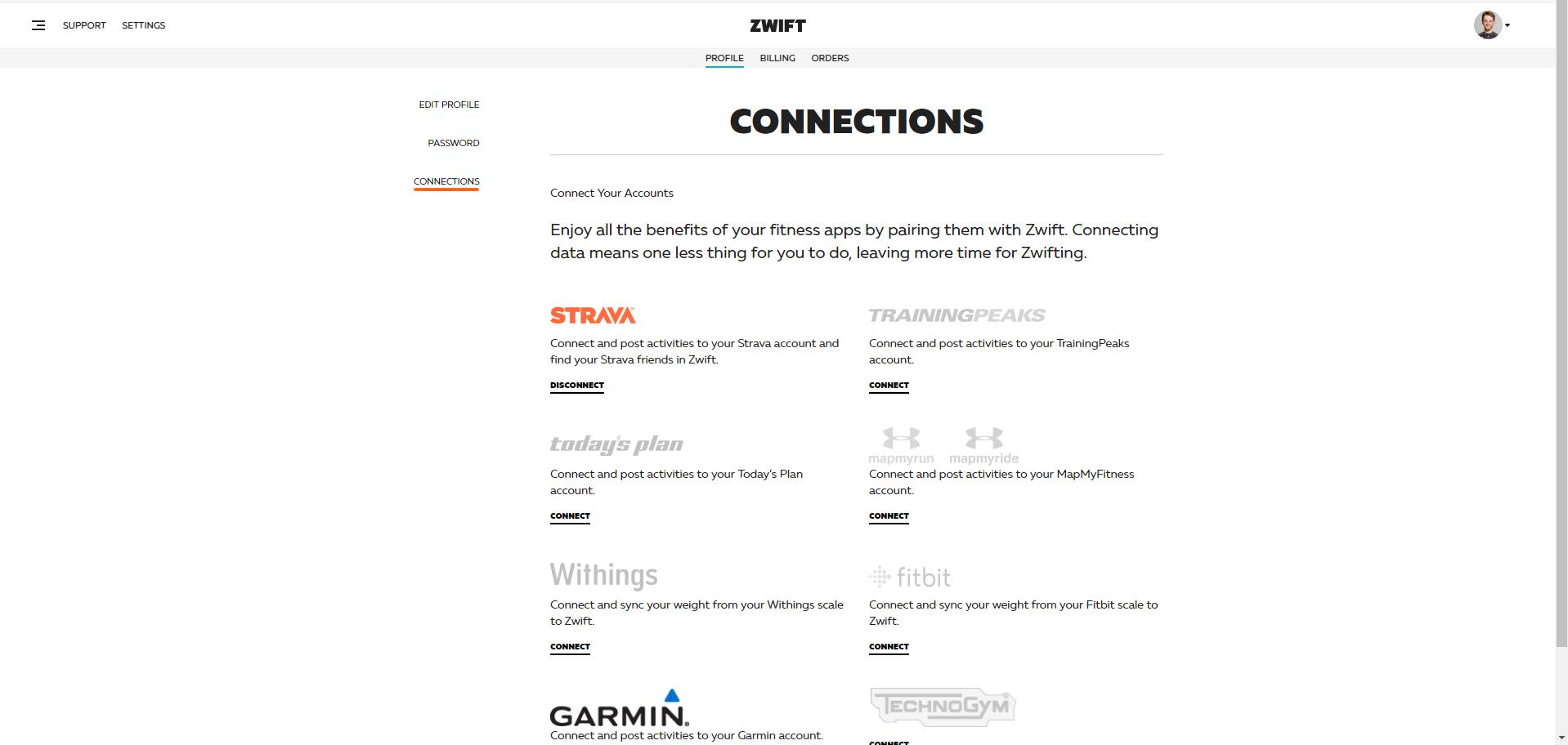 Zwift kann mit vielen Anbietern gekoppelt werden. Unter anderem mit Strava und Garmin Connect