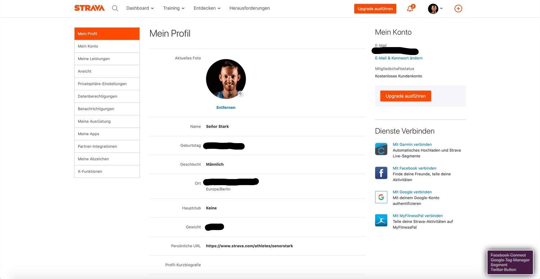 Strava Profildaten