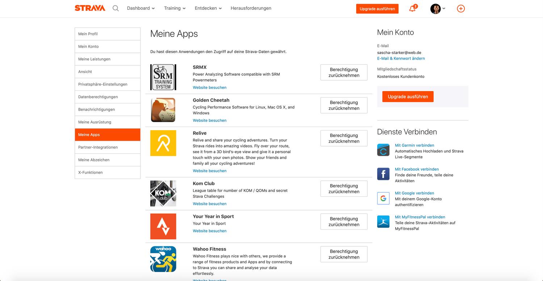 Strava ist mit anderen Apps und Anbietern Verknüpft