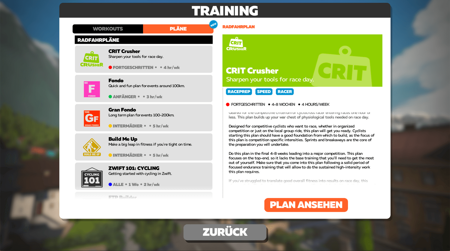 Zwift Trainingspläne