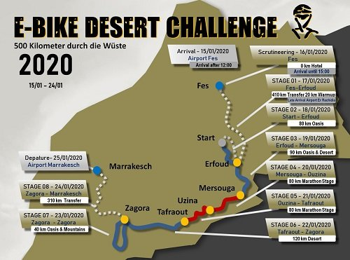 E-Bike Desert Challenge 2020 Streckenverlauf