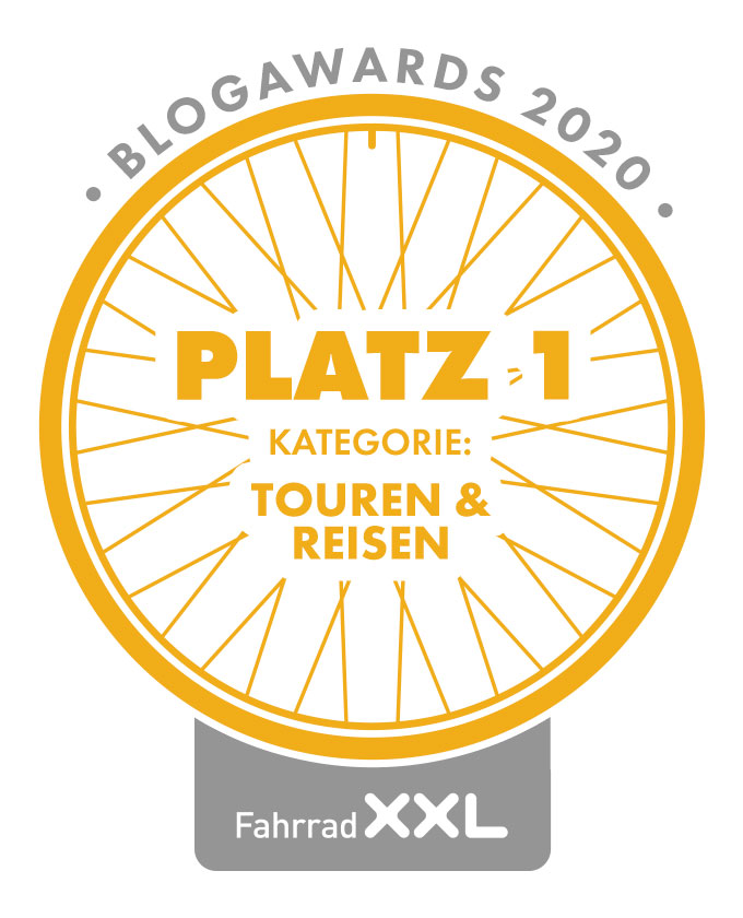 1. Platz bei den Fahrrad XXL Blogawards in der Kategorie Touren & Reisen