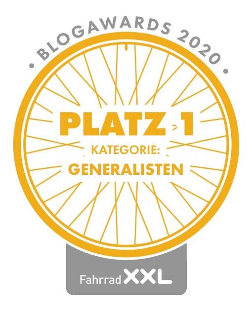 1. Platz bei den Fahrrad XXL Blogawards in der Kategorie Generalisten