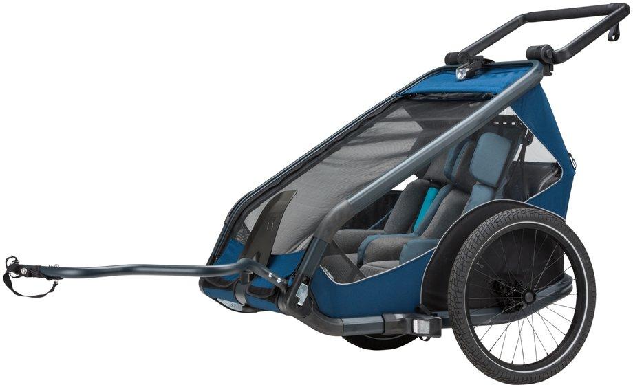 Kettler Quadriga Kinderanhänger Zweisitzer Fahrradanhänger Blau Modell 2019