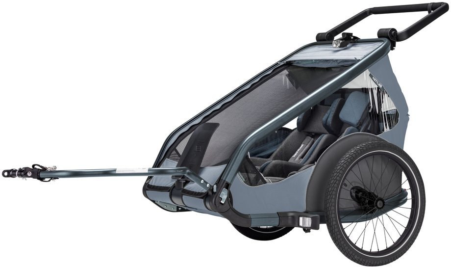 Kettler Quadriga Kinderanhänger Zweisitzer Fahrradanhänger Grau Modell 2019